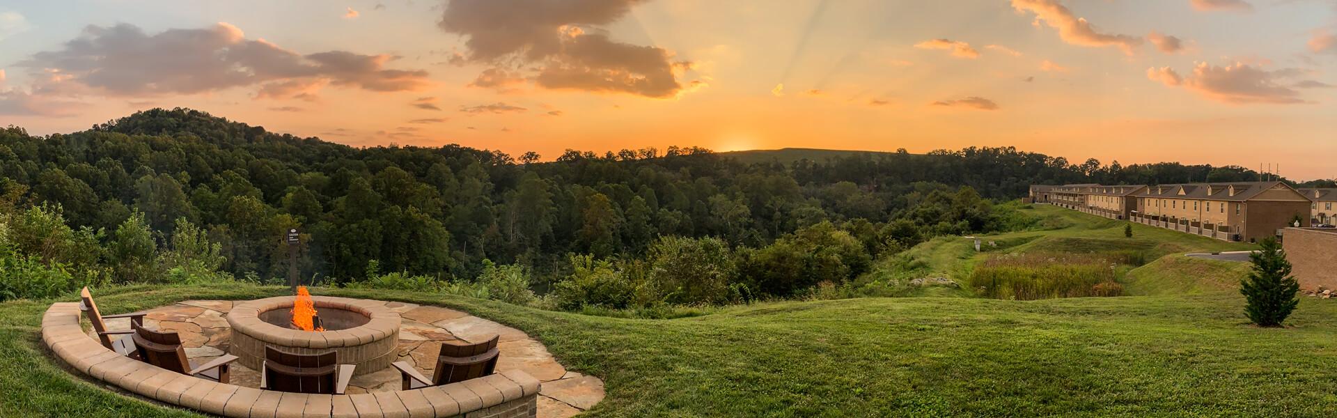 HI-RiverBend-Firepit Sunset